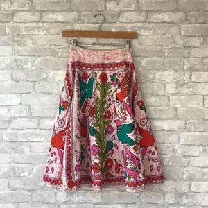 Anthropologie Odille pink floral bird skirt